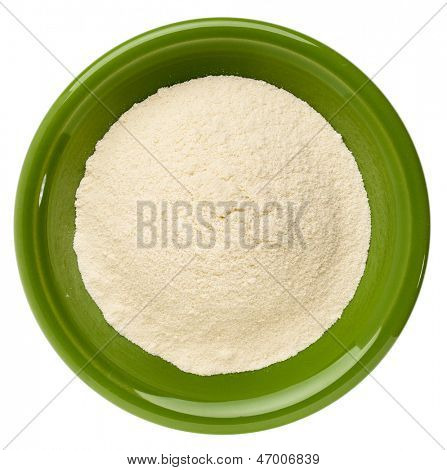 whey protein powder in a small ceramic bowl isolated on white