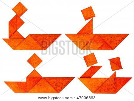 four abstract pictures of a fisherman, paddler or rower in a boat built from seven tangram wooden pieces, a traditional Chinese puzzle game