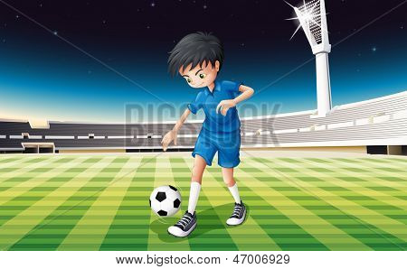 Illustration of a soccer player in a blue uniform