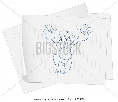 Illustration of a paper with a drawing of a young fat boy on a white background