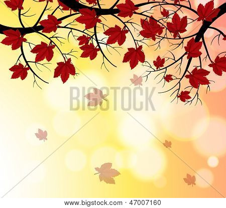 Illustration of a stationery with falling leaves