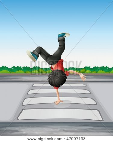 Illustration of a boy breakdancing at the pedestrian lane
