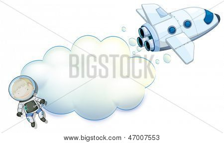 Illustration of an empty space with a robot and a spaceship on a white background