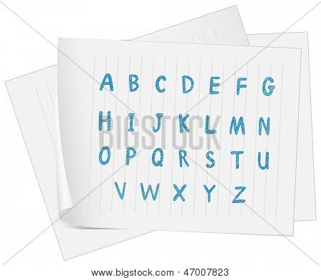 Illustration of a paper with the complete letters of the alphabet on a white background