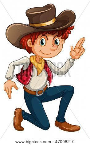 Illustration of a cowboy on a white background