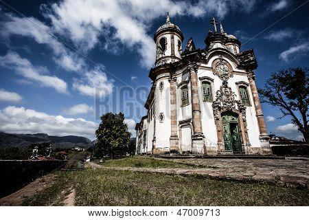 View Of The Igreja De Sao Francisco De Assis Of The Unesco World Heritage City Of Ouro Preto In Mina