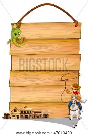 Illustration of a cowboy riding a horse, saloon bars and lizard in front of a wooden hanging board on a white background