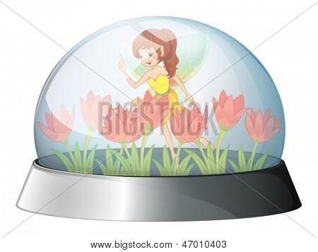 Illustration of a dome with a fairy in the garden inside on a white background