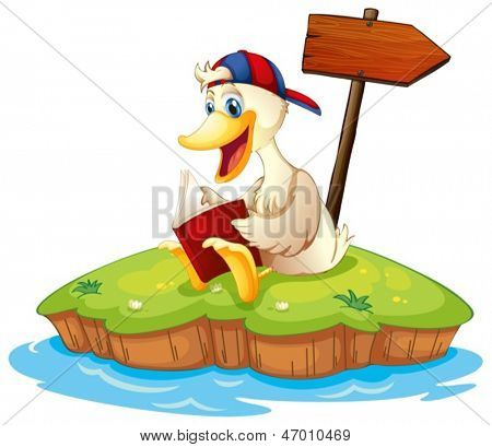 Illustration of a  duck reading beside the empty arrowboard on a white background