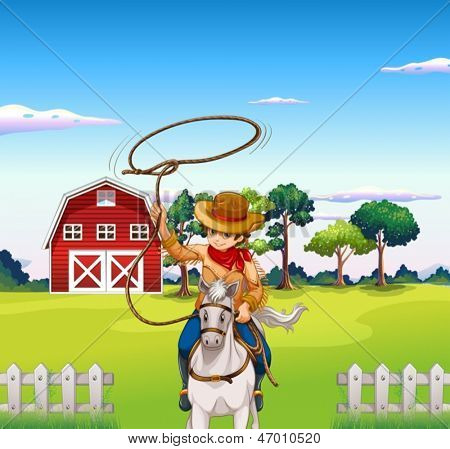 Illustration of a young cowboy in the ranch