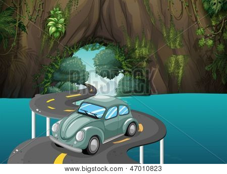 Illustration of a curve road passing through the cave