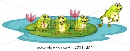 Illustration of the frogs in the pond on a white background