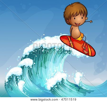 Illustration of a boy surfing in the waves