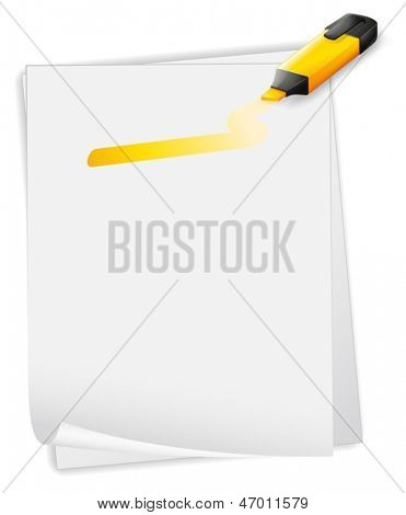 Illustration of an empty paper with an orange highlighter on a white background