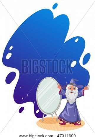 Illustration of a wizard beside the mirror on a white background