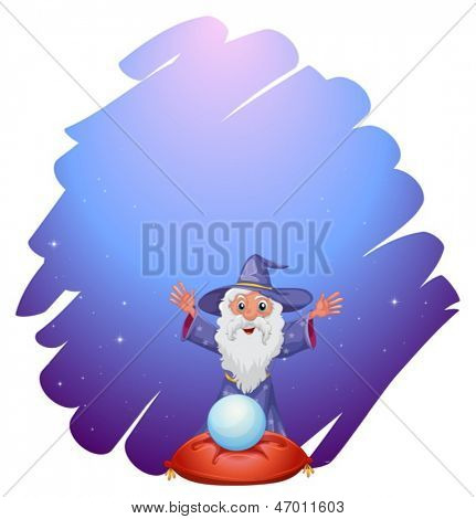 Illustration of a wizard with a crystal ball above a pillow on a white background