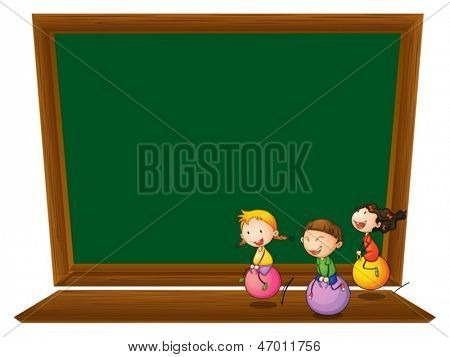 Illustration of an empty blackboard with three playful kids on a white background