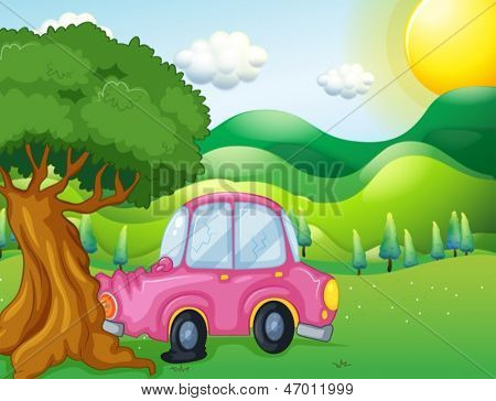 Illustration of a pink car bumping the big tree