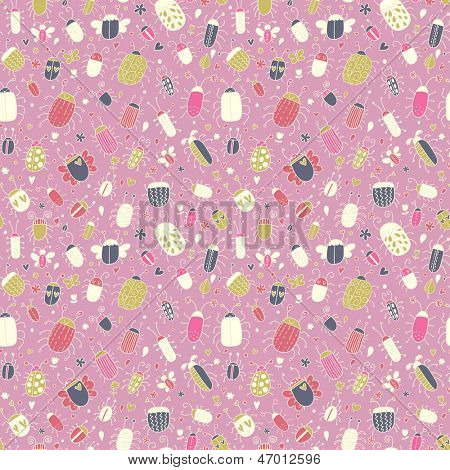 Pink cute seamless pattern with small bugs. Collection of colorful beetles. Vector background can be used for wallpapers, pattern fills, web design, surface textures, textile.