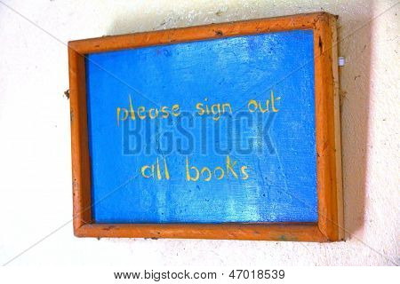 Please Sign Out Books Rustic Library Sign