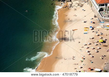Aerial View Of Urca Beach And Neighborhood Homes, Rio De Janeiro, Brasil.