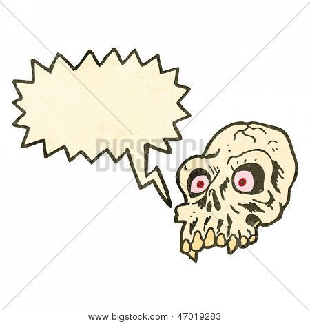 retro cartoon shrieking skull symbol