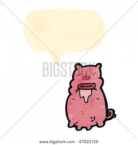 retro cartoon drooling pig