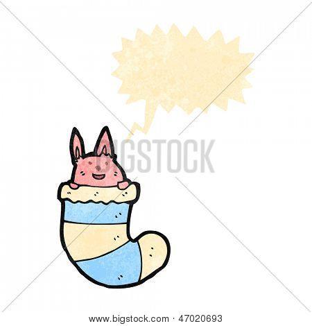 retro cartoon cute rabbit in sock
