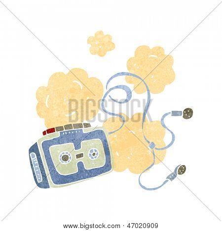 retro cartoon dusty old tape player