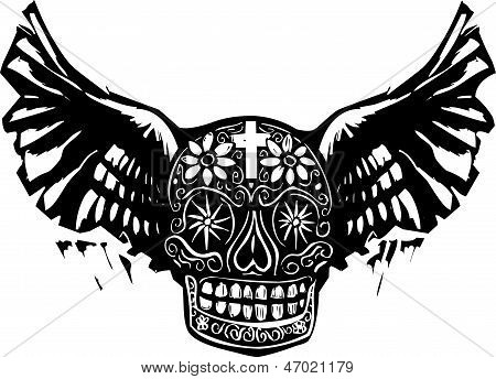Day Of The Dead Winged Skull