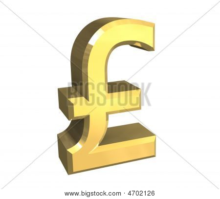 Isolated Pound Symbol In Gold