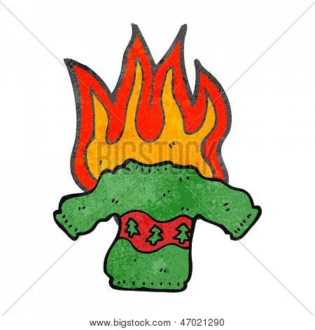 retro cartoon burning christmas jumper