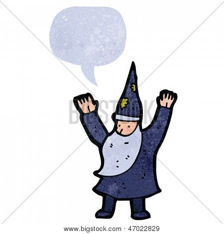 retro cartoon wizard casting spell