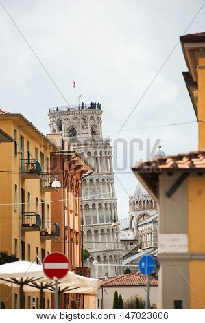Pisa Street And Leaning Tower