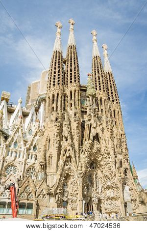 The Sagrada Familia Cathedral In Barcelona, Spain