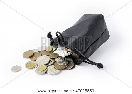 Coins falling from string purse