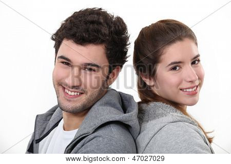 Portrait of a young man and woman