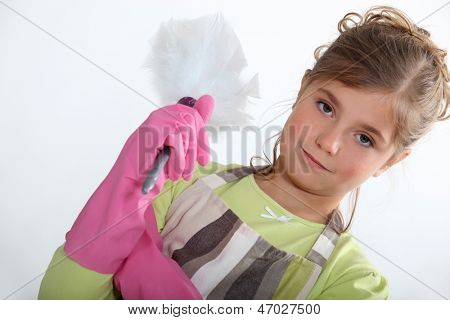 Little girl with duster