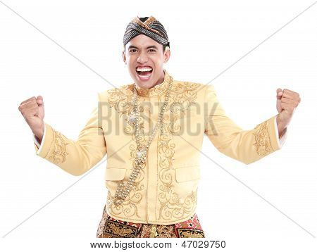 Happy Of Man Wearing Traditional Of Java