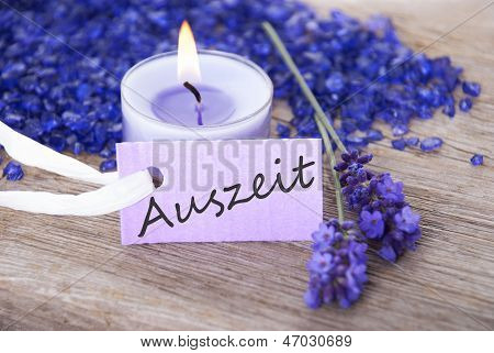 Purple Label With Auszeit On It