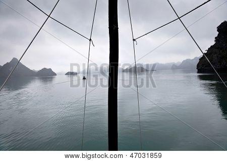 Mast and misty horizon, Halong Bay, Vietnam