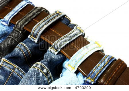 Denim Straps And Leather Belt