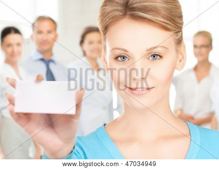 happy woman with blank business or name card