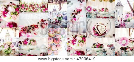 Wedding decorations collage, collage of nine wedding photos