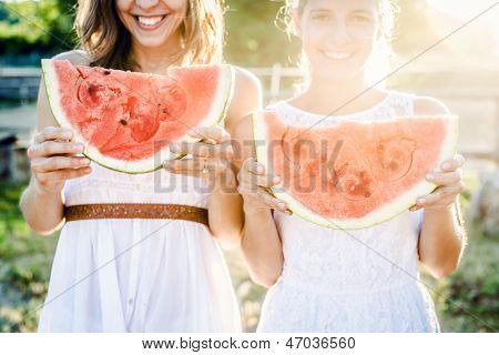 Eating a watermelon