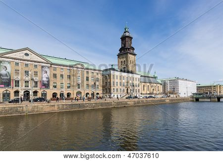 Goteborg - April 26: View Of The Big Harbor Canal With City Museum And Christina Church On April 26,
