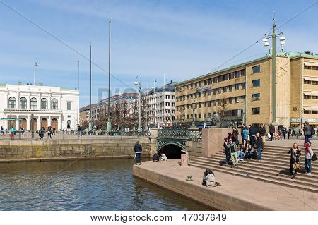 Goteborg - April 26: View Of Gustof Adolf's Square Near The Big Harbor Canal On April 26, 2013 In Go