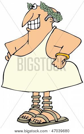 Smiling man in a toga