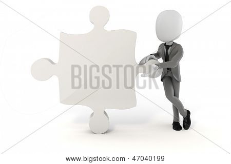 3d man businessman and puzzle piece