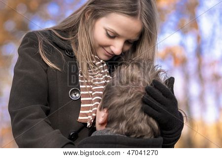 Portrait Of Two Young Caucasian People  Demonstrating Their Warm And Intimate Relationships